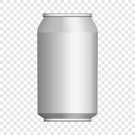 Beer tin can mockup. Realistic illustration of beer tin can vector mockup for on transparent background Vettoriali