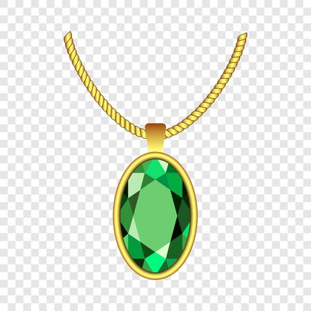 Emerald necklace icon. Realistic illustration of emerald necklace vector icon for on transparent background