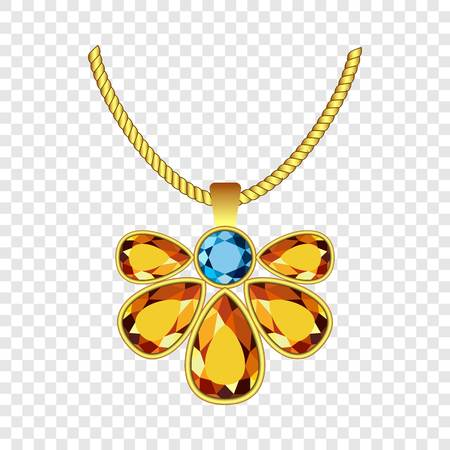 Yellow and blue topaz jewelry icon. Realistic illustration of yellow and blue topaz jewelry vector icon for on transparent background