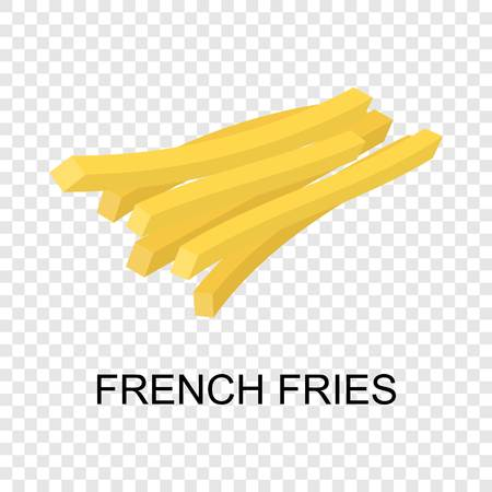 French fries icon. Isometric of french fries vector icon for on transparent background Ilustrace