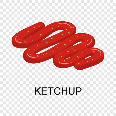Ketchup icon. Isometric of ketchup vector icon for on transparent background