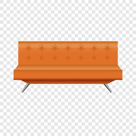 Orange leather sofa mockup. Realistic illustration of orange leather sofa vector mockup for on transparent background