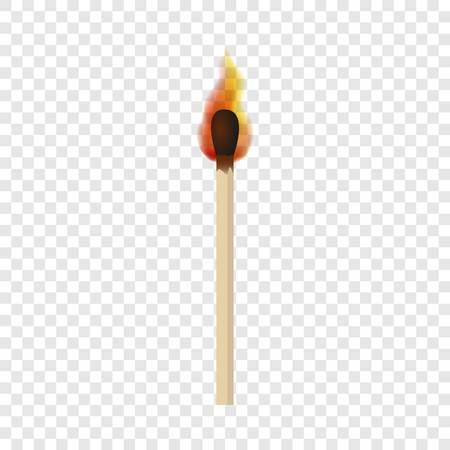 Match avec la maquette de flamme de feu. Illustration réaliste du match avec la maquette de vecteur de flamme de feu pour sur fond transparent Vecteurs