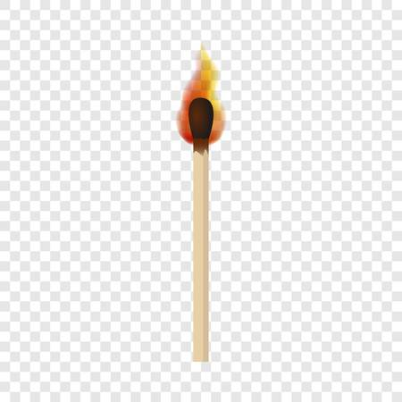 Match with fire flame mockup. Realistic illustration of match with fire flame vector mockup for on transparent background Vettoriali