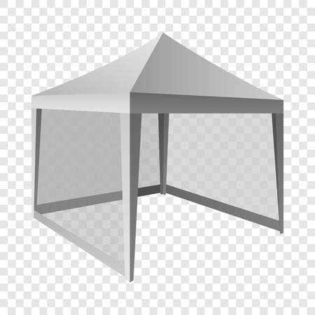 Outdoor white tent mockup. Realistic illustration of outdoor white tent vector mockup for on transparent background