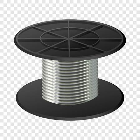 Silver cable coil mockup. Realistic illustration of silver cable coil vector mockup for on transparent background