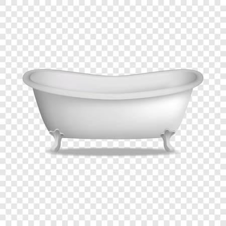 Badewanne Modell. Realistische Illustration des Badewannenvektormodells für auf transparentem Hintergrund