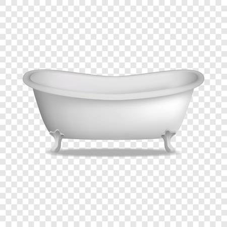 Bathtub mockup. Realistic illustration of bathtub vector mockup for on transparent background