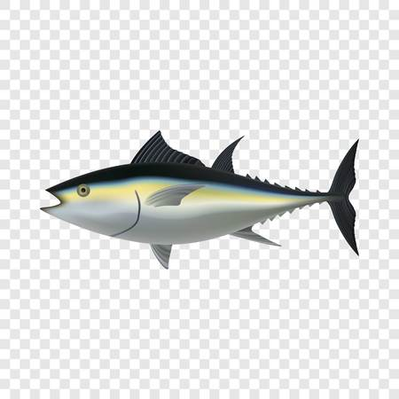 Tuna fish mockup. Realistic illustration of tuna fish vector mockup for on transparent background