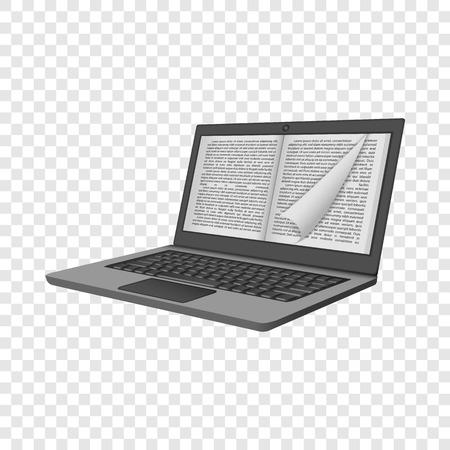 Maquette de lecture d'ordinateur portable d'encre. Illustration réaliste de la maquette de vecteur de lecture d'ordinateur portable d'encre pour sur fond transparent