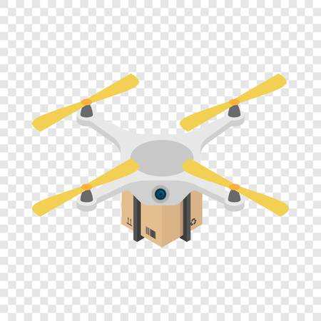 Drone box delivery icon. Isometric of drone box delivery vector icon for on transparent background