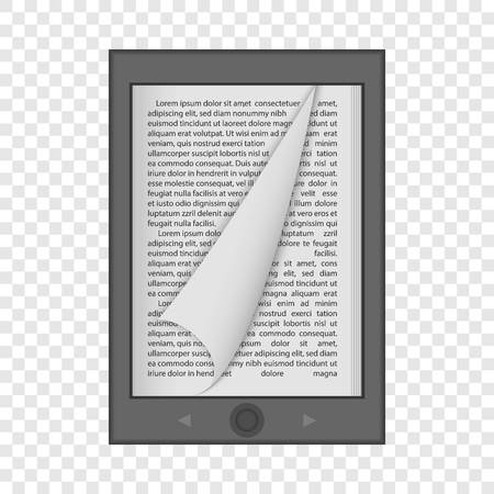 Ereader mockup. Realistic illustration of ereader vector mockup for on transparent background Banco de Imagens