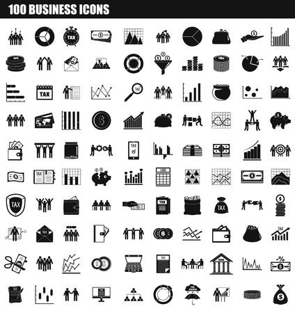 100 biznes zestaw ikon. Prosty zestaw 100 biznesowych ikon wektorowych do projektowania stron internetowych na białym tle