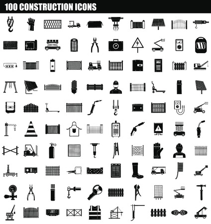 100 construction icon set, simple style