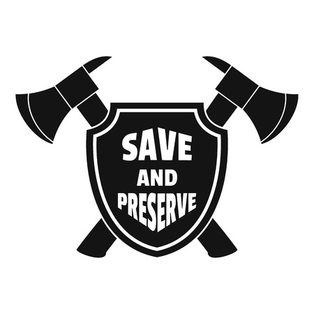 Save and preserve logo, simple style Stock Illustratie