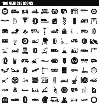 100 vehicle icon set. Simple set of 100 vehicle vector icons for web design isolated on white background Vector Illustratie