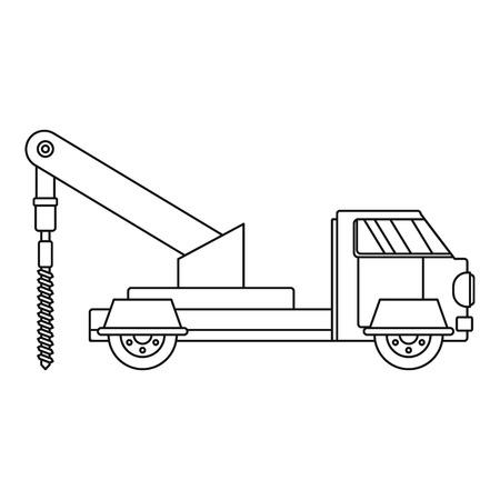 Ikona Wiertarka ciężarówki. Zarys ciężarówka wiertła wektor ikona do projektowania stron internetowych na białym tle