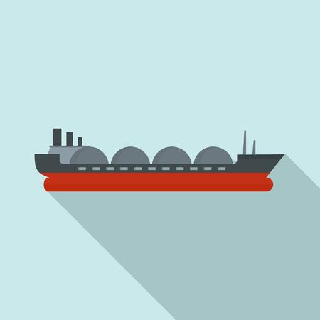 Petrol tanker ship icon. Flat illustration of petrol tanker ship vector icon for web design Illustration