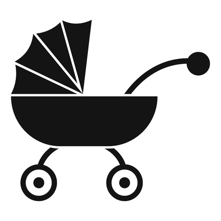 Baby carriage icon. Simple illustration of baby carriage vector icon for web design isolated on white background Illustration