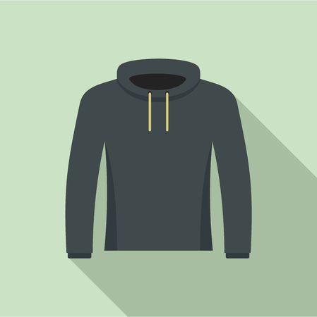 Hip hop hoodie icon. Flat illustration of hip hop hoodie vector icon for web design