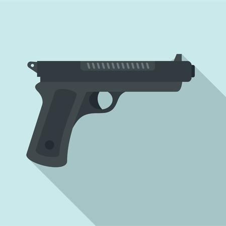 Gangster pistol icon. Flat illustration of gangster pistol vector icon for web design
