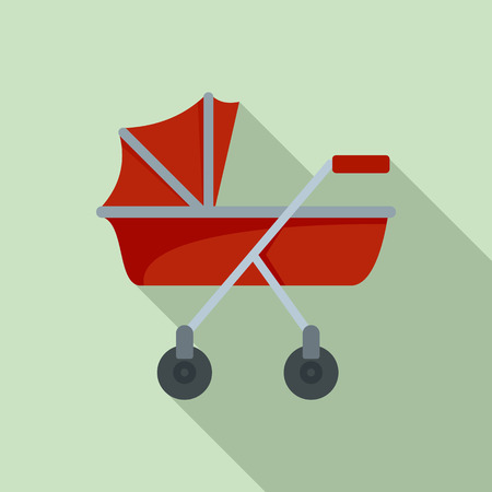 New baby carriage icon. Flat illustration of new baby carriage vector icon for web design
