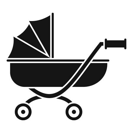Toy baby pram icon. Simple illustration of toy baby pram vector icon for web design isolated on white background
