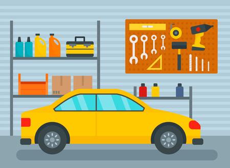 Car in home garage background. Flat illustration of car in home garage vector background for web design