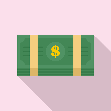 Dollar pack icon. Flat illustration of dollar pack vector icon for web design Ilustração