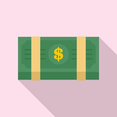 Dollar pack icon. Flat illustration of dollar pack vector icon for web design Çizim