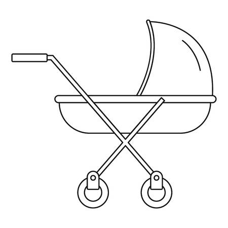 Modern baby carriage icon. Outline modern baby carriage vector icon for web design isolated on white background