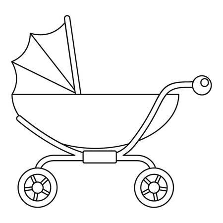Icono de cochecito de bebé clásico. Esquema clásico cochecito de bebé icono vectoriales para diseño web aislado sobre fondo blanco.