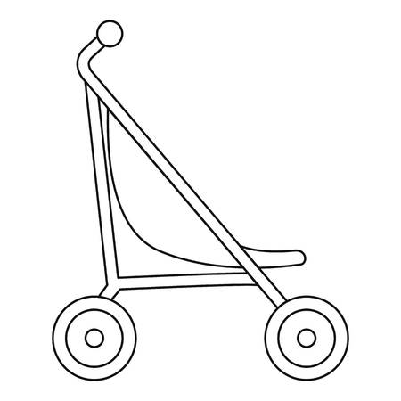 Little pram icon. Outline little pram vector icon for web design isolated on white background