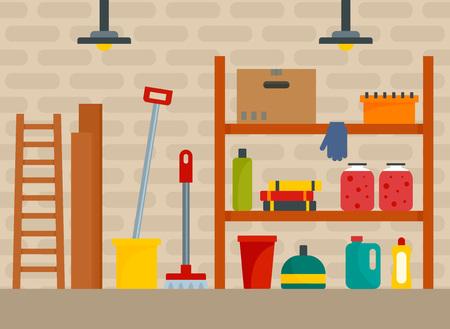 Hauskellerhintergrund. Flache Illustration des Hauskellervektorhintergrundes für Webdesign