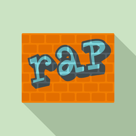 Rap on bricks wall icon. Flat illustration of rap on bricks wall vector icon for web design Vettoriali
