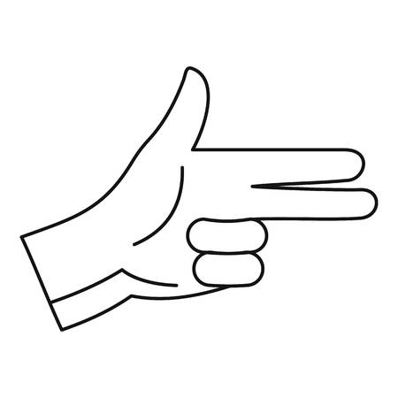 Pistol hand sign icon. Outline pistol hand sign vector icon for web design isolated on white background