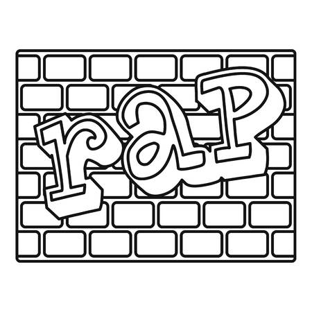 Rap bricks wall icon, outline style Vettoriali