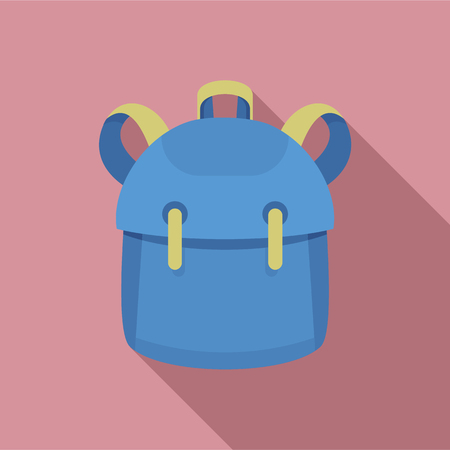 Kid backpack icon. Flat illustration of kid backpack vector icon for web design 矢量图像