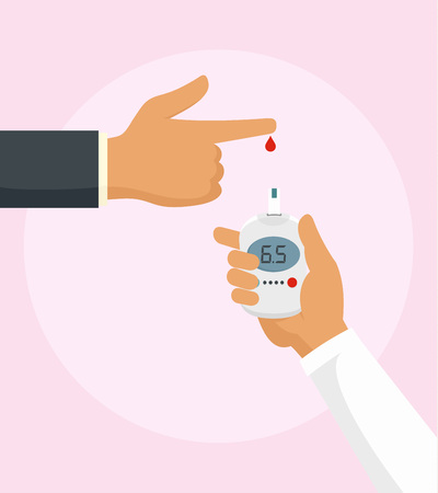 Test blood with glucometer background. Flat illustration of test blood with glucometer vector background for web design Vettoriali