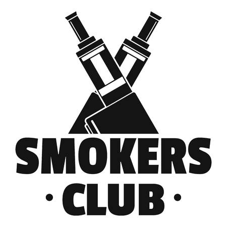 Vape smokers club logo, simple style Vettoriali
