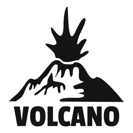 Erupting volcano logo, simple style Illustration