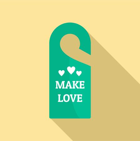 Make love hanger tag icon. Flat illustration of make love hanger tag vector icon for web design