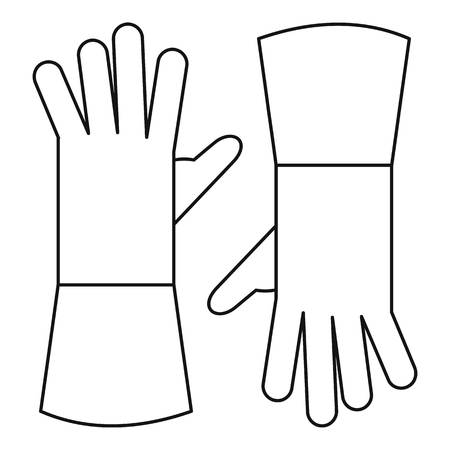 Garden gloves icon, outline style Vectores