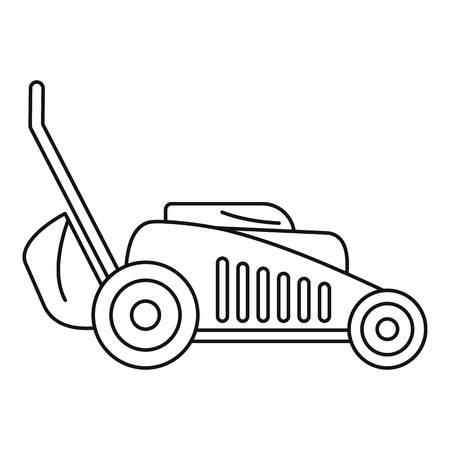Symbol für Grasschneidemaschine. Umreißen Sie das Vektorsymbol der Grasschnittmaschine für das Webdesign, das auf weißem Hintergrund lokalisiert wird