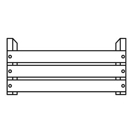 Icône de boîte en bois. Contours boîte en bois icône vecteur pour la conception web isolé sur fond blanc