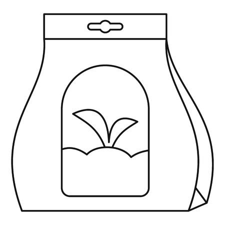 Symbol für die Pflanzensamenpackung. Umrisse Pflanzensamen Pack Vektorsymbol für Webdesign isoliert auf weißem Hintergrund