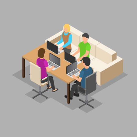 Team it working background. Isometric illustration of vector team it working background for web design
