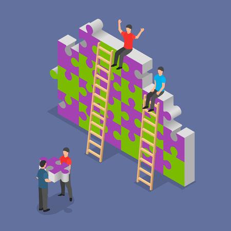 Team building background. Isometric illustration of vector team building background for web design