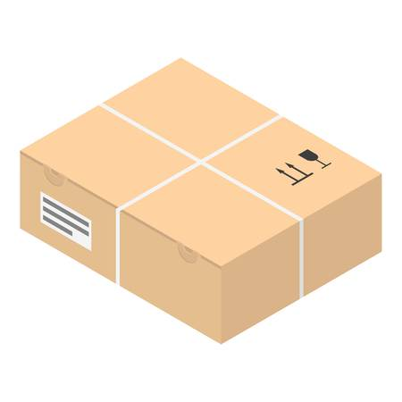 Carton box icon. Isometric of carton box vector icon for web design isolated on white background