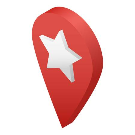 Star map pin icon. Isometric of star map pin vector icon for web design isolated on white background